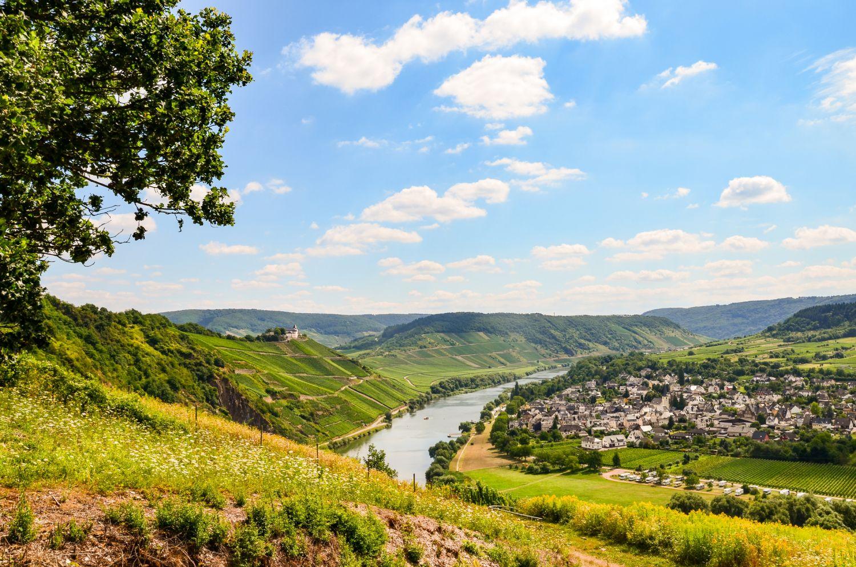 Moseltal in Deutschland – Blick auf Weinhänge und Stadt